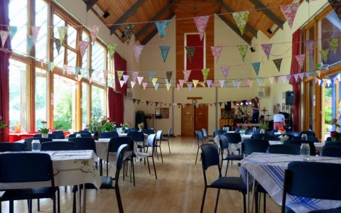 Itchen Abbas and Avington Village Hall with vintage bunting