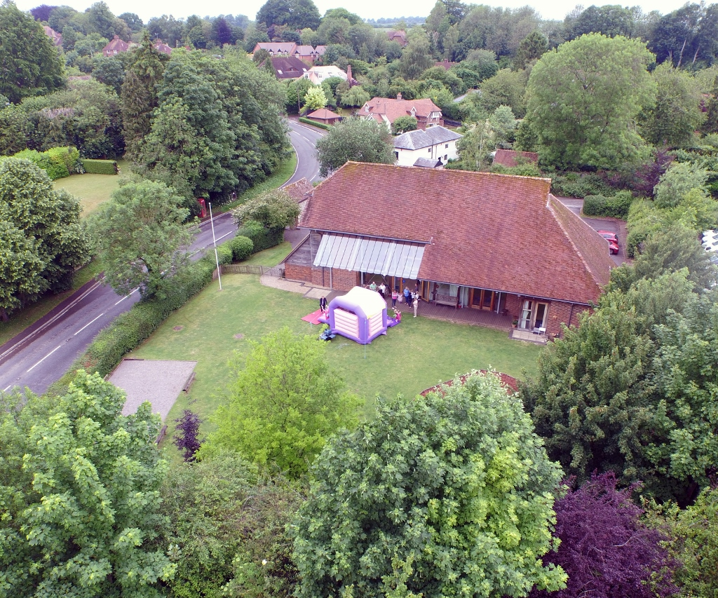 Itchen Abbas and Avington Village Hall seen from above